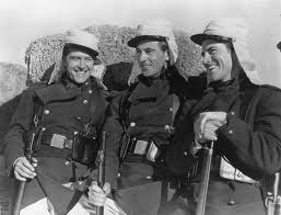 Soldiers from a movie still wearing Sahara Cadet Cape Hats