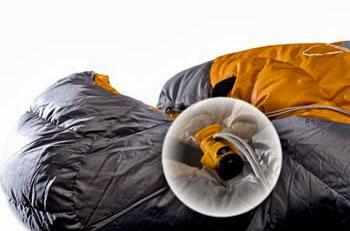 Black Crater Cord Lock Light on a sleeping bag