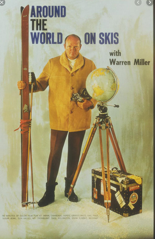 Cover for Warren Miller book, Around the World on Skis
