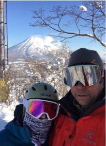 Skiers with Mt. Fuji in the background